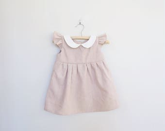 Spring Easter Baby Dress for Girl Baby and Girl Toddler, Dusty Pink Linen, Classic Retro Dress, Peter Pan Collar, 1st Birthday Outfit