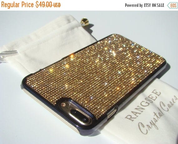 Sale iPhone 7 Plus Case Gold Topaz Diamond Rhinestone Crystals on Black Chrome Case. Velvet Pouch Included, Genuine Rangsee Crystal Cases