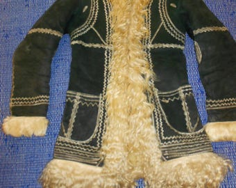 Super Nice Darkgreen Afghan sheepskin coat size small