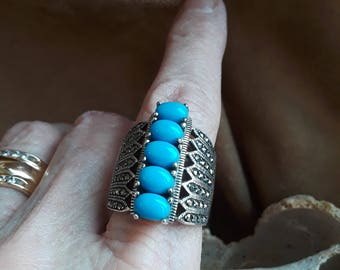 Sterling silver turquoise blue five stone wide band size 8 1/2 ring