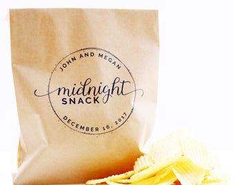 Midnight Snack Favor Bag, Wax Lined Favor Bag, Custom Favor Bag, Popcorn Bag, Dessert Table, Donut Bag, Wedding Favor, Love is Sweet