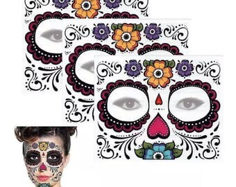 Sugarskull Day Of The Dead Temporary Face Tattoo - costume accessory - Muertos Sugarskull Dress up