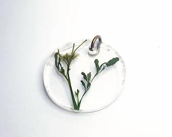 Pressed Bittercress Flower Resin Pendant