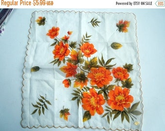50% SALE Vintage Floral Hanky Unused Fall Tones Scalloped Edges Party Wedding Bridal Shower Favor Christmas Gift for Her DIY Seamstress Proj