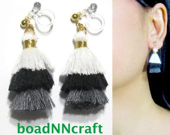 Invisible Clip-ons |39A| trio 3-tiered Black White Gray Mini Fringe Tassel Clip on Earrings, Long Dangle Clip Earrings, Non Pierced Earrings