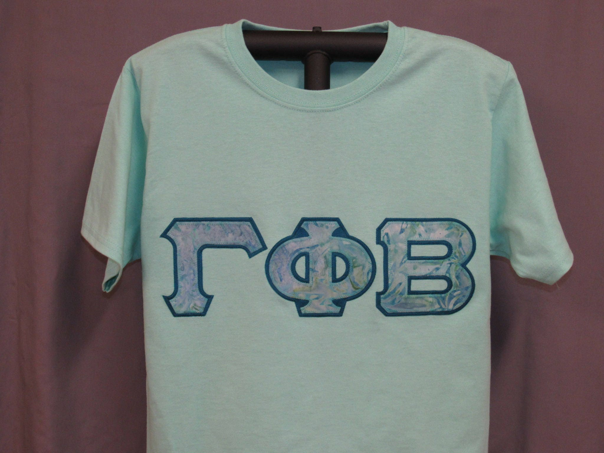 Sorority Letters Shirt, Mint Green Shirt With Coordinating Blue And Green  Batik Print Sorority Double Stitched Letters