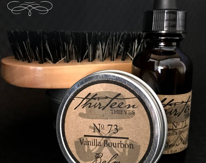 Beard Grooming Kit with Oil, Balm, and Brush