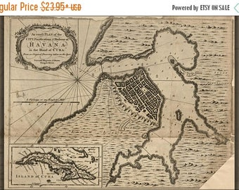 20% Off Sale - Poster, Many Sizes Available; Map Of Havana, Cuba 1762