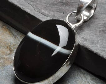 """Hand Made Natural Botswana Agate Gemstone  925 STERLING SILVER PENDANT 1 3/4"""""""