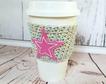 Coffee Cup Sleeve, Coffee Cup Cozy, Cup Cozy, Rainbow Star Cup Cozy, Cup Sweater, Crochet Cup Cozy, Travel Cup Cozy, RockStar Cup Cozy, Cozy