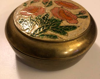 Vintage Brass Floral Poppies Enamel Jewelry Box