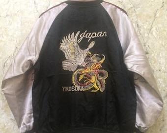 Birthday Sale Vintage Embroidered Japanese Souvenirs Sukajan Varsity Jacket, Yakuza, Hip Hop Dragon Fight Hawk Size S Rare