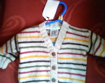 Hand knitted, traditional style cardigan to fit a boy aged 6-12, months old