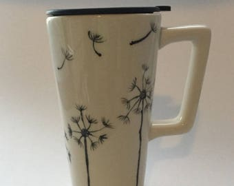 Ceramic travel mug hand decorated with dandelions with handle