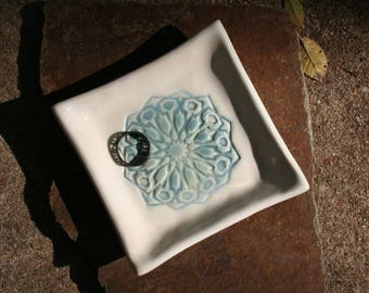 Blue Opal Mandala Square ring dish on white opal dish. Great as a coaster, ring dish, watch holder, serving dish.
