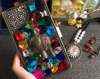 Charms Retro Elephant Sparkles Bling Flip Slot Cards Holder Colorized Crystals Wallet Leather Rhinestones Diamonds Fashion Case for Phones
