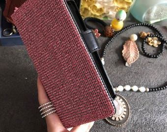 New Fashion Luxury Hot Pink Gems Black Flip Wallet Leather Slot Cards Holder Bling Lovely Rhinestones Diamonds Stand Case for Mobile Phone