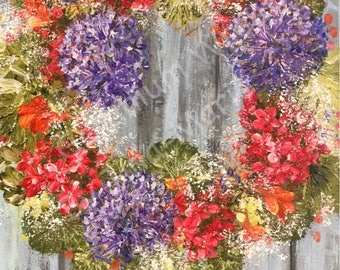 Geranium Wreath - Original Stretched Canvas