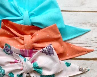 Gorgeous Wrap Trio (3 Gorgeous Wraps)- Robin Egg, Peach Sugar & Southwest Cactus Gorgeous Wraps; headwraps; fabric head wraps; bows