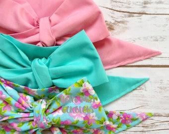 Gorgeous Wrap Trio (3 Gorgeous Wraps)-Dusty Rose, Turquoise & Watercolor Floral Gorgeous Wraps; headwraps; fabric head wraps