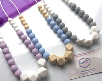 Silicone Teething Necklace - Silicone Necklace for Mom - Chewy Necklace -  Bite Beads Teething Necklace - HEXAGON BEADS - Nursing Necklace
