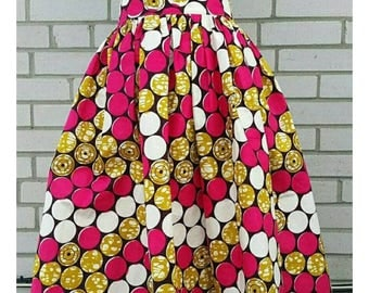Ready to ship Ankara high wsist Midi skirt African print  skirt African clothing