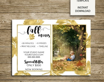 Fall Mini Session - Shimmering Leaves - 7x5 Photoshop Marketing Template - INSTANT DOWNLOAD