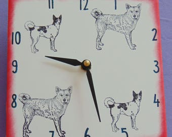 "Ceramic tile Canaan dog clock, 6"" square, red border"