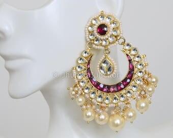 Kundan Chandbali Earrings, Kundan Earrings,  Pachi Kundan Earrings, Kundan Jewelry, Gold Pearl earrings