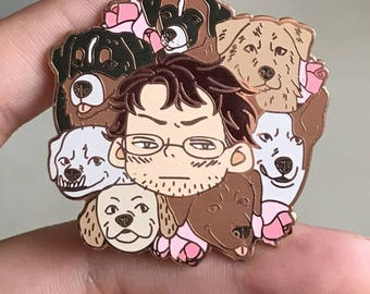 Preorder! Will and dogs hard enamel pin/lapel pin 42 mm