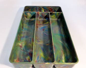 Bakelite green marblised cutlery tray – original from the 1950s