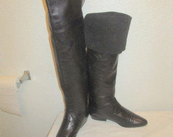 sz 7 b vintage black ITALIAN leather and suede thigh high flat boots VITORIO SOBALINA f04