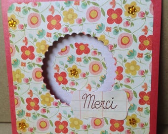 """""""Merci"""" thank you card with pretty flowers"""