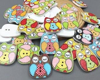 25 boutons hiboux / 25 button owl