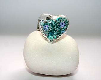 """Glass Globe Collection """"Saint Valentine little heart"""" turquoise, black and silver ring"""