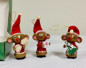 Vintage Miniature Wooden Christmas Ornaments Merry Mouse Trio
