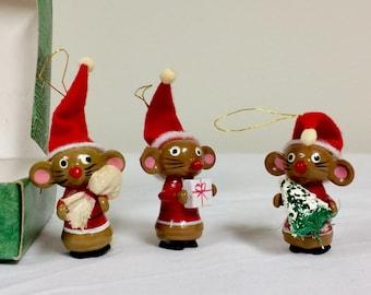 Vintage Miniature Wooden Christmas Ornaments Merry Mouse Trio