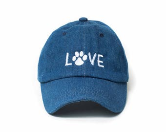 Love Hat, Love Baseball Cap, Dog Mom Hat, Embroidered Baseball Cap, Adjustable Strap Back Baseball Cap, Low Profile, Denim Hat