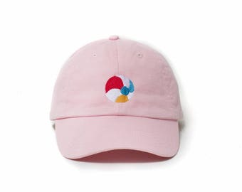 Beach Hat, Beach Dad Hat, Beach Ball Baseball Cap, Embroidered Baseball Cap, Adjustable Strap Back Baseball Cap, Low Profile, Pink