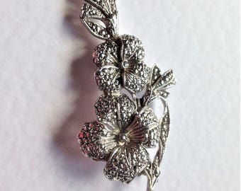 Vintage Marcasite Brooch, Rhodium Plated Brooch, Flower Brooch, Vintage Wedding