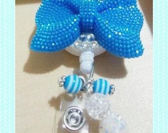 Blue Bow Id badge reel