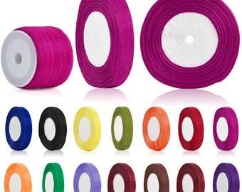 50 Yards 3mm/6mm Sheer Organza Ribbon Wedding Decor Supply Hair Bows Craft Jewelry making Sewing Gift wraping, 35 Colors, V-RN0009-RN0010