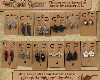 Large Ceramic Charm Earrings