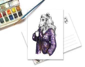 Illustration card of Afghan Hound with coffee