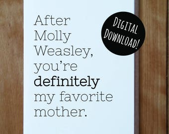 Molly Weasley DIGITAL Mother's Day Card, Mother's Day Card, Funny Mother's Day Card, Harry Potter Inspired Mother's Day Card