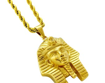 King tut necklace etsy 18k gold plated king tut pendant stainless steel necklace with 24 rope chain aloadofball Gallery