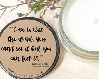 Walk to Remember Love Quote Soy Candle, Nicholas Sparks, Book Lover Gift, Book Gift, Book Quote, Book candle, Mason Jar Candle