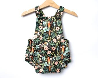 Floral and Bird Baby Romper.  Rifle Paper Co Fabric Romper.  Handmade UK. Floral on Black. Designer Fabric Baby Clothes. Luxury Baby Gift