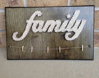 Family Words Nail Yarn Art - Custom - with Clothespins to hang photos