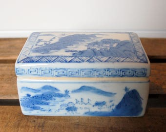 Blue and White Chinese Trinket Box